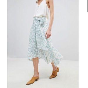 Free People Walu Light Print Midi Skirt
